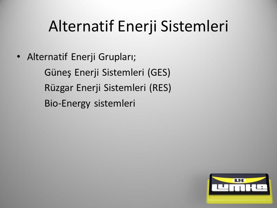 Alternatif Enerji Sistemleri Alternatif Enerji Grupları; Güneş Enerji Sistemleri (GES) Rüzgar Enerji Sistemleri (RES) Bio-Energy sistemleri