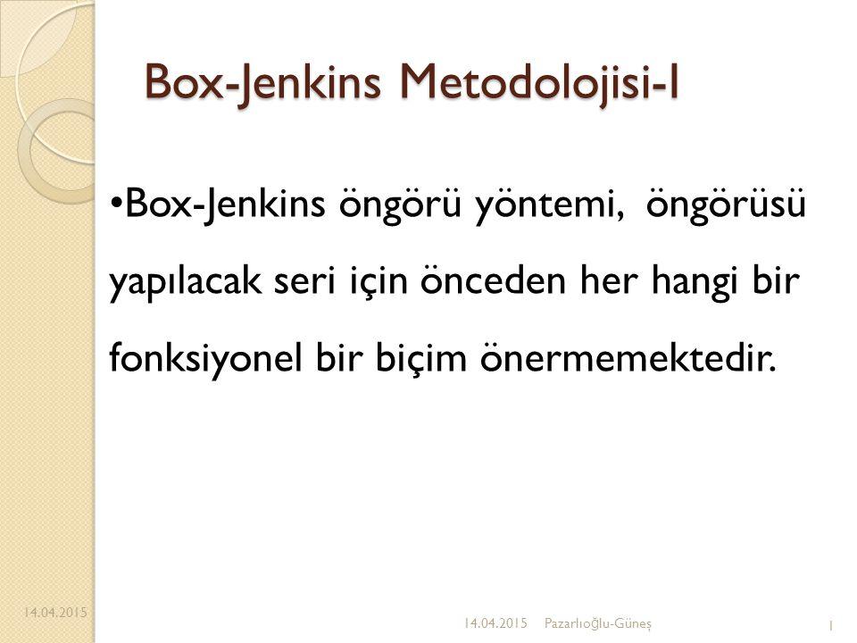 Box-Jenkins Metodolojisi-I 14.04.2015 1 Box-Jenkins öngörü yöntemi, öngörüsü yapılacak seri için önceden her hangi bir fonksiyonel bir biçim önermemek