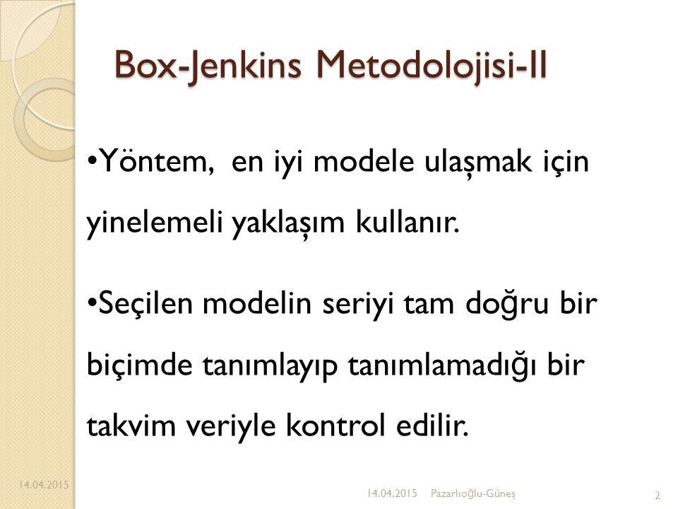 Box-Jenkins Metodolojisi-II 14.04.2015 2 Yöntem, en iyi modele ulaşmak için yinelemeli yaklaşım kullanır. Seçilen modelin seriyi tam do ğ ru bir biçim