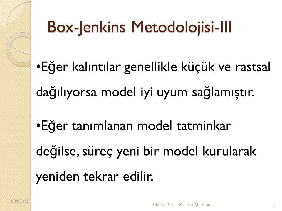 Box-Jenkins Metodolojisi-III 14.04.2015 3 E ğ er kalıntılar genellikle küçük ve rastsal da ğ ılıyorsa model iyi uyum sa ğ lamıştır. E ğ er tanımlanan