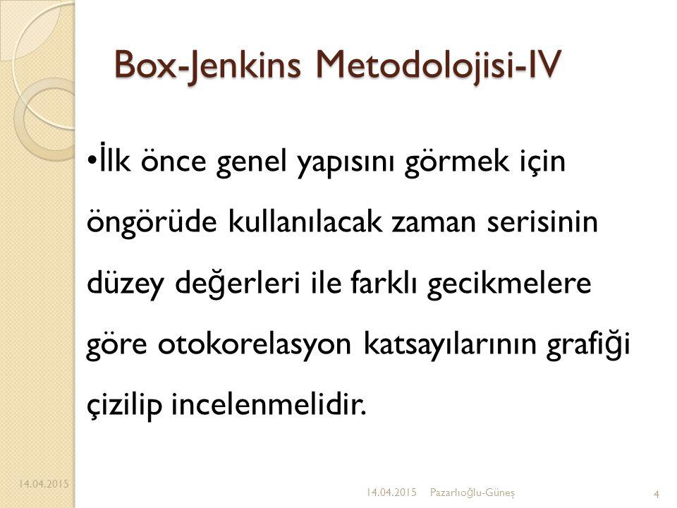 Box-Jenkins Metodolojisi-IV 14.04.2015 4 İ lk önce genel yapısını görmek için öngörüde kullanılacak zaman serisinin düzey de ğ erleri ile farklı gecik