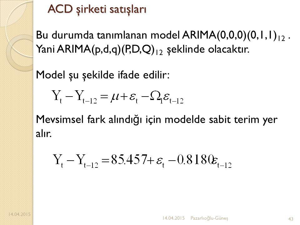 ACD şirketi satışları 14.04.2015 43 14.04.2015Pazarlıo ğ lu-Güneş Bu durumda tanımlanan model ARIMA(0,0,0)(0,1,1) 12. Yani ARIMA(p,d,q)(P,D,Q) 12 şekl