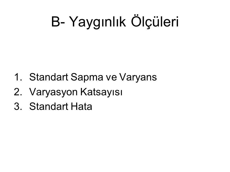 B- Yaygınlık Ölçüleri 1.Standart Sapma ve Varyans 2.Varyasyon Katsayısı 3.Standart Hata
