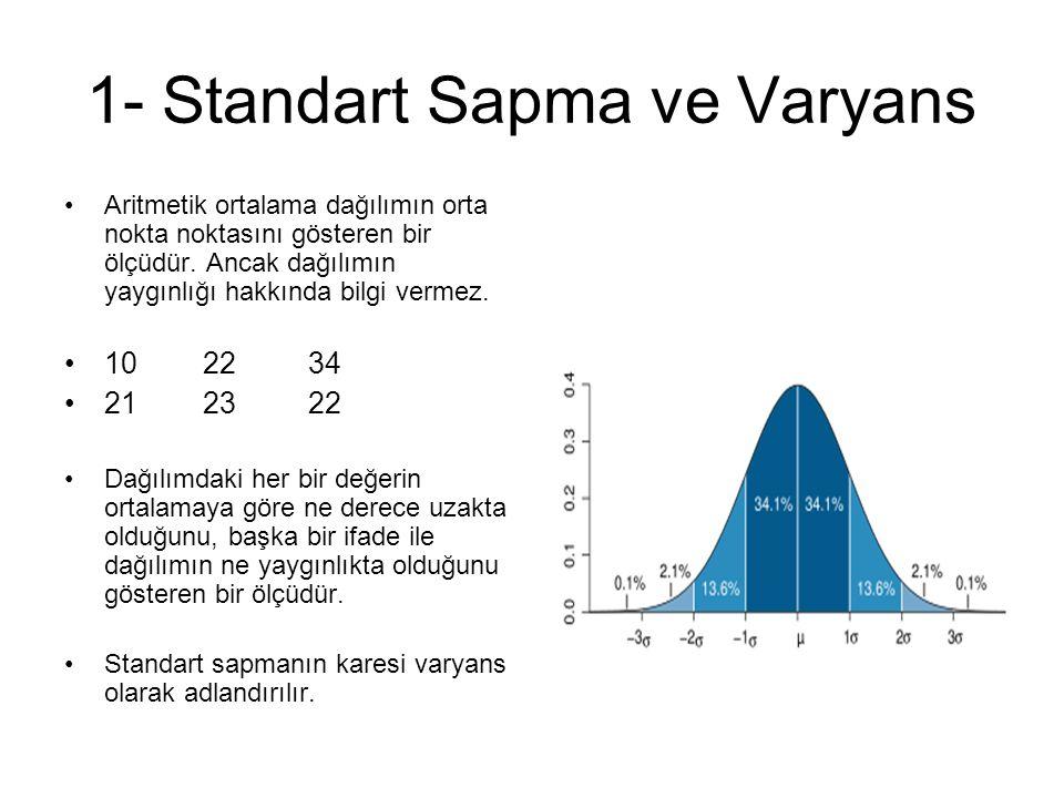 1- Standart Sapma ve Varyans Aritmetik ortalama dağılımın orta nokta noktasını gösteren bir ölçüdür.
