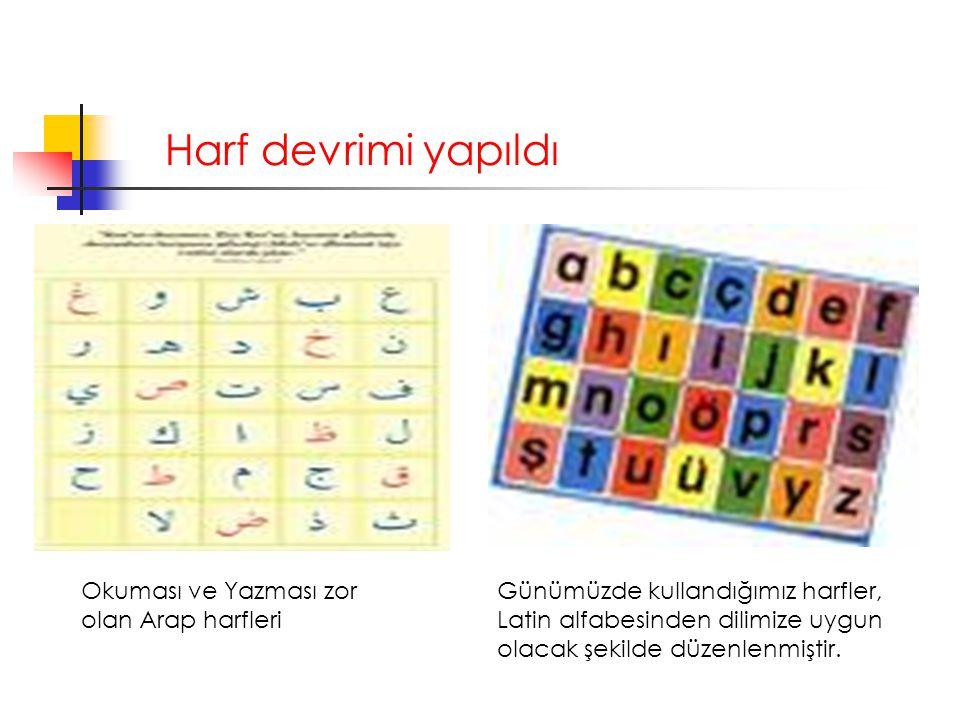 Harf devrimi yapıldı Okuması ve Yazması zor olan Arap harfleri Günümüzde kullandığımız harfler, Latin alfabesinden dilimize uygun olacak şekilde düzen