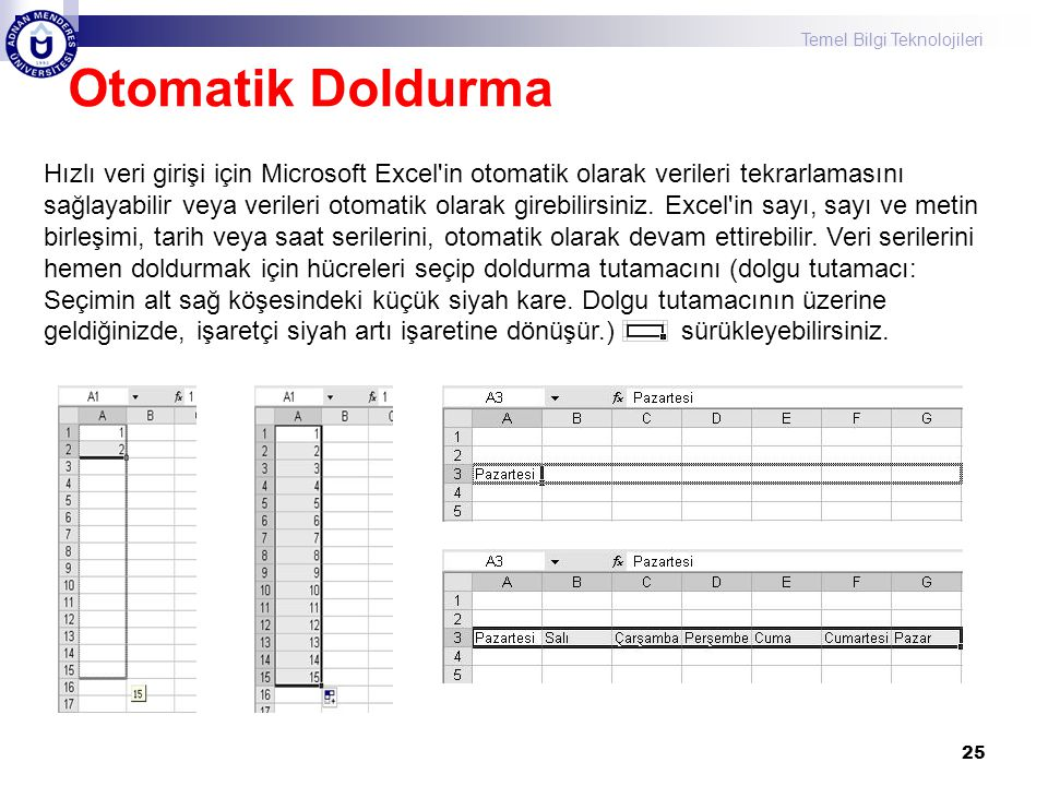Temel Bilgi Teknolojileri 25 Otomatik Doldurma Hızlı veri girişi için Microsoft Excel'in otomatik olarak verileri tekrarlamasını sağlayabilir veya ver