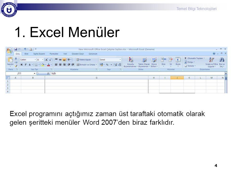 1. Excel Menüler 4 Excel programını açtığımız zaman üst taraftaki otomatik olarak gelen şeritteki menüler Word 2007'den biraz farklıdır.