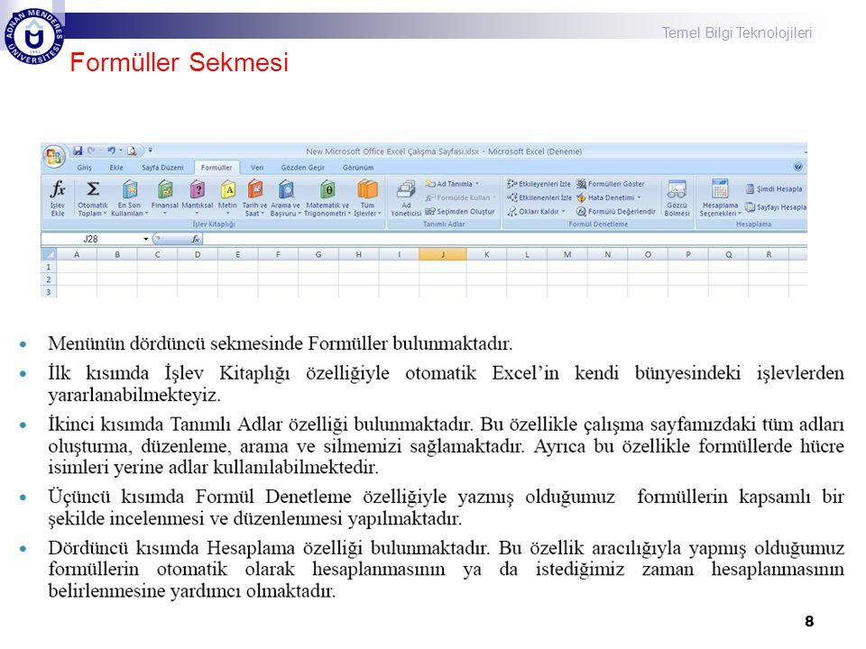 Temel Bilgi Teknolojileri 29 VIII. Hafta Ders İçeriği Excel'de Formuller ve Fonksiyonlar