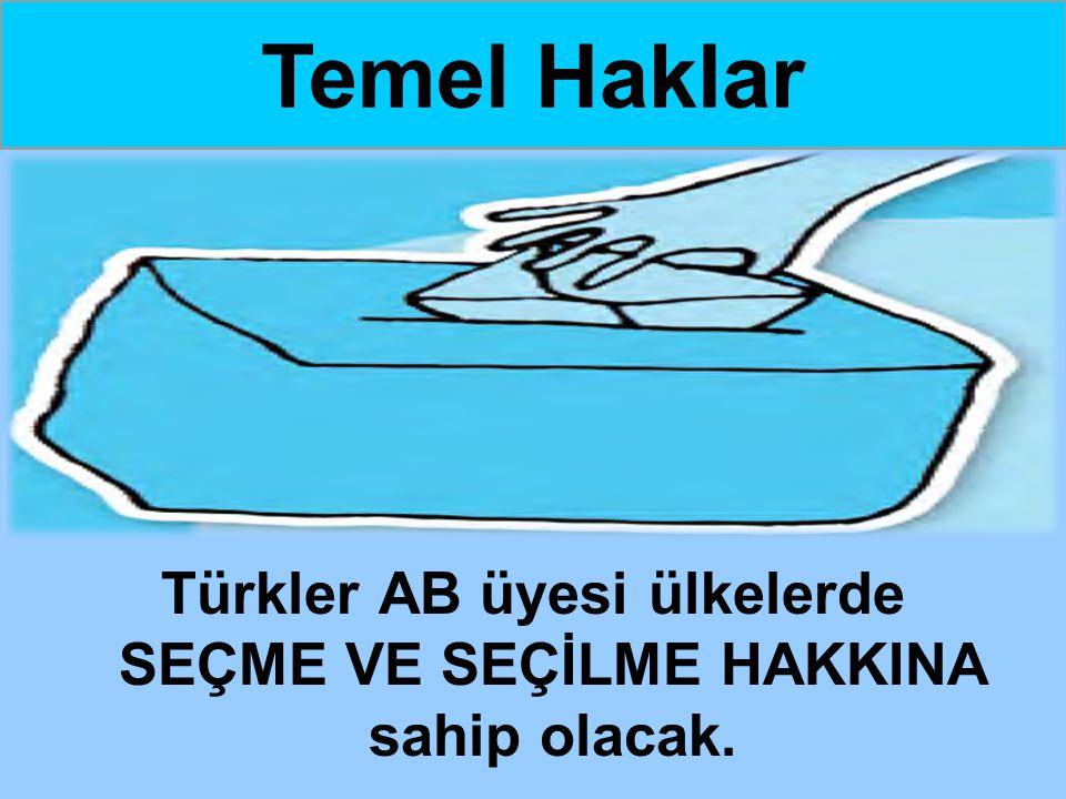 Türkler AB üyesi ülkelerde SEÇME VE SEÇİLME HAKKINA sahip olacak. Temel Haklar