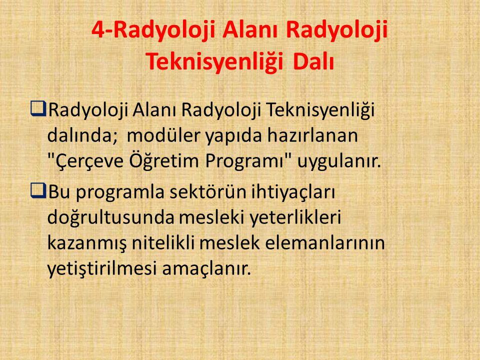 4-Radyoloji Alanı Radyoloji Teknisyenliği Dalı  Radyoloji Alanı Radyoloji Teknisyenliği dalında; modüler yapıda hazırlanan