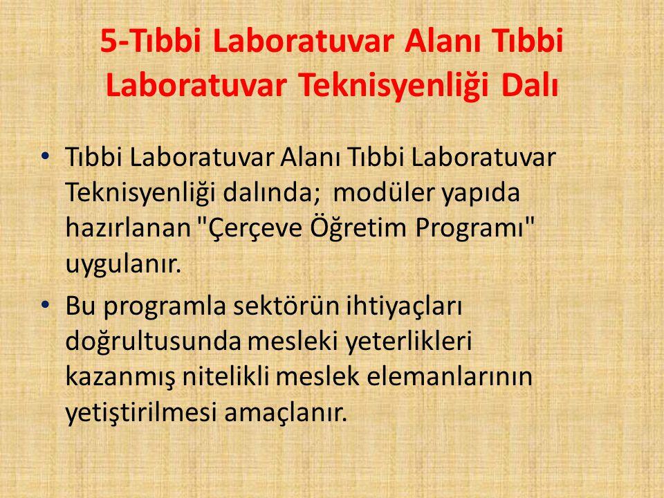 5-Tıbbi Laboratuvar Alanı Tıbbi Laboratuvar Teknisyenliği Dalı Tıbbi Laboratuvar Alanı Tıbbi Laboratuvar Teknisyenliği dalında; modüler yapıda hazırla