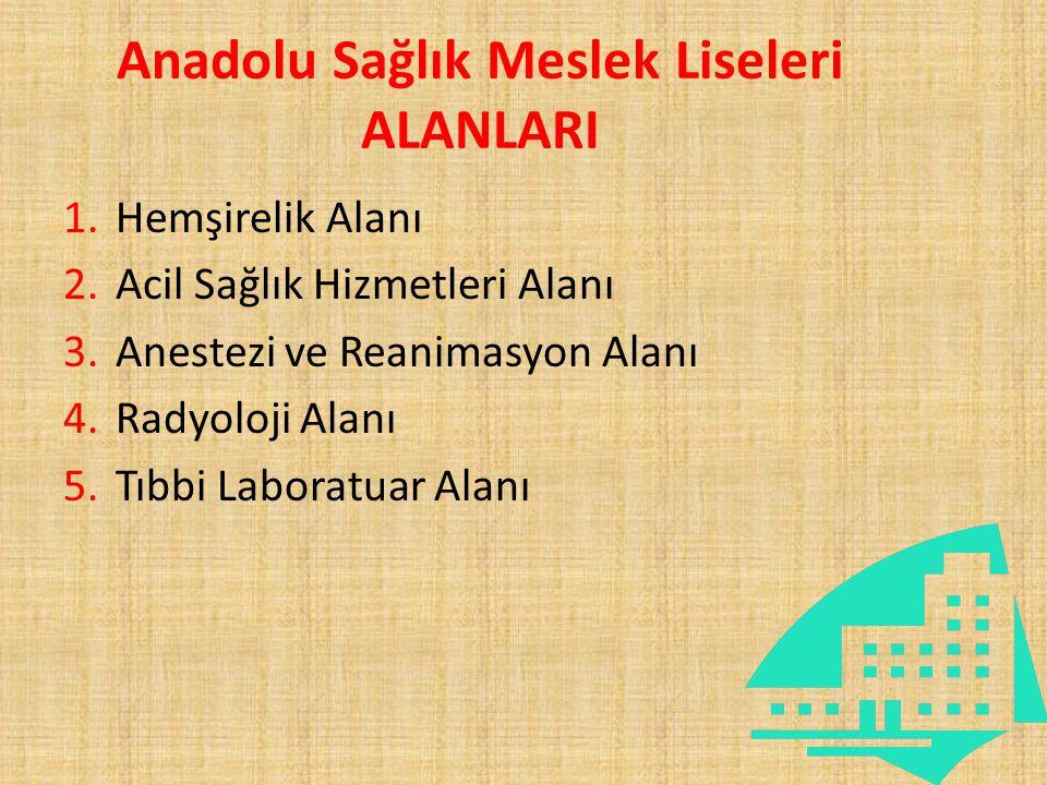 Anadolu Sağlık Meslek Liseleri ALANLARI 1.Hemşirelik Alanı 2.Acil Sağlık Hizmetleri Alanı 3.Anestezi ve Reanimasyon Alanı 4.Radyoloji Alanı 5.Tıbbi La