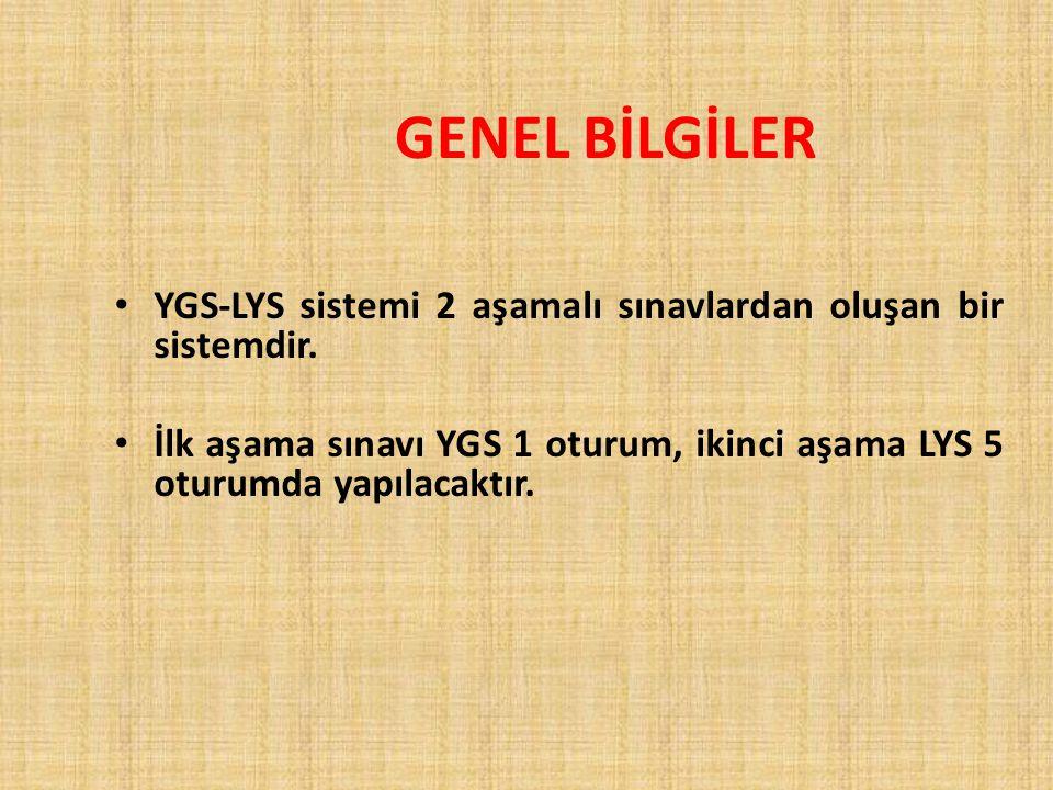 YGS-LYS sistemi 2 aşamalı sınavlardan oluşan bir sistemdir. İlk aşama sınavı YGS 1 oturum, ikinci aşama LYS 5 oturumda yapılacaktır. GENEL BİLGİLER