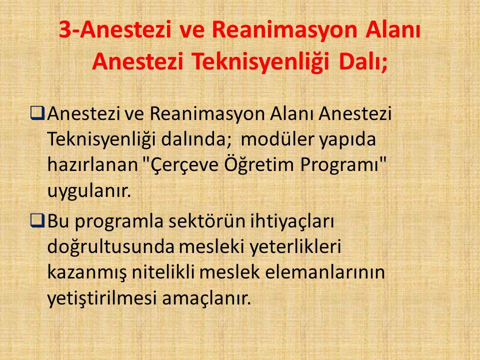 3-Anestezi ve Reanimasyon Alanı Anestezi Teknisyenliği Dalı;  Anestezi ve Reanimasyon Alanı Anestezi Teknisyenliği dalında; modüler yapıda hazırlanan