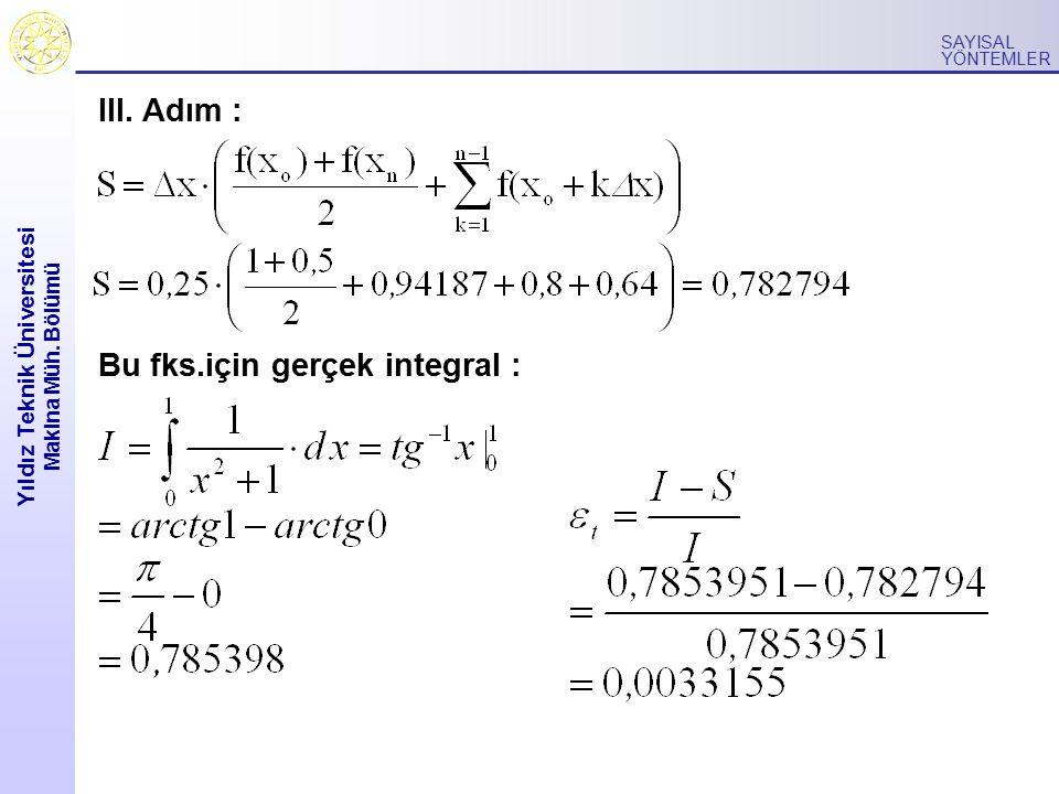 Yıldız Teknik Üniversitesi Makina Müh. Bölümü SAYISAL YÖNTEMLER III. Adım : Bu fks.için gerçek integral :