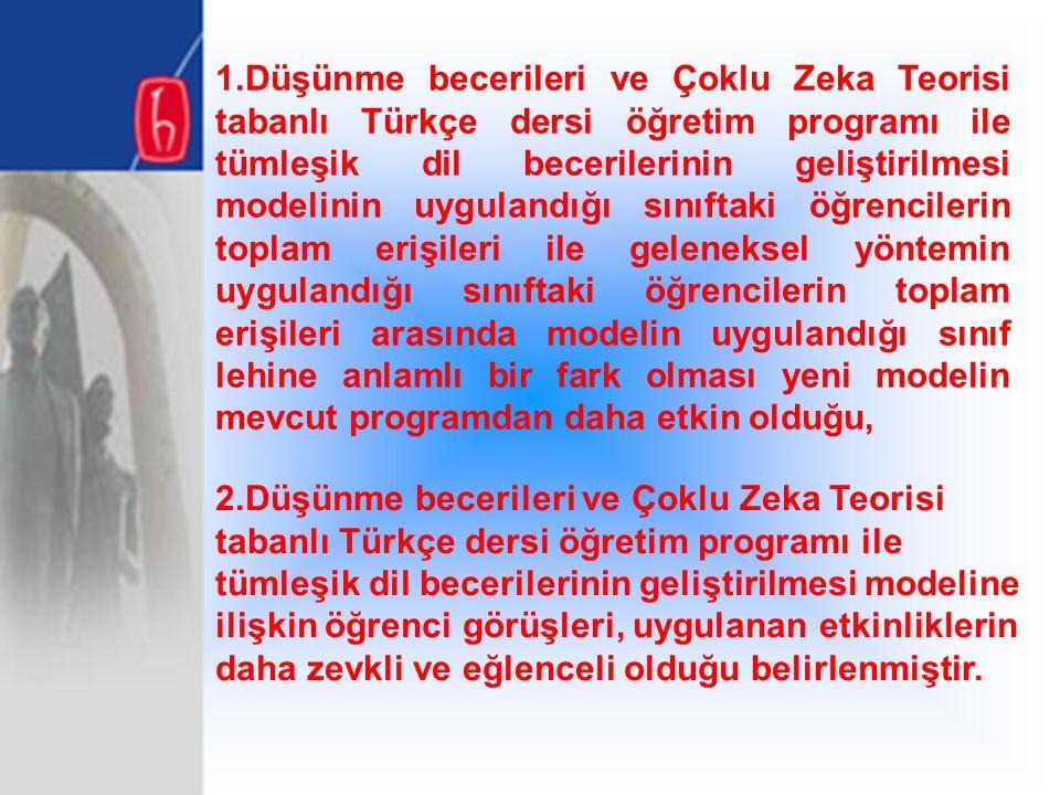 1.Düşünme becerileri ve Çoklu Zeka Teorisi tabanlı Türkçe dersi öğretim programı ile tümleşik dil becerilerinin geliştirilmesi modelinin uygulandığı s