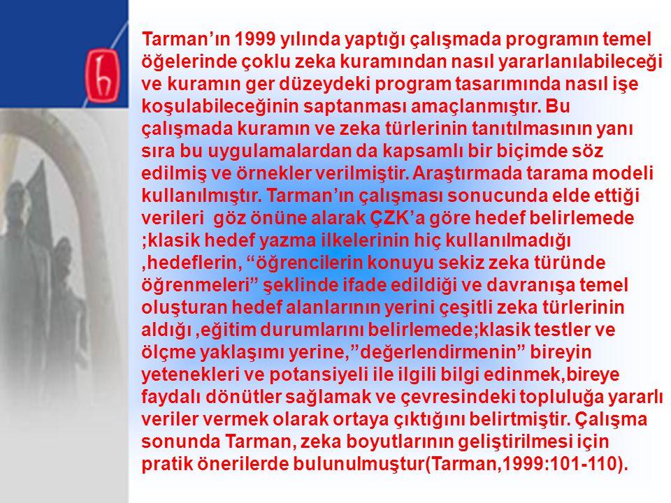 Tarman'ın 1999 yılında yaptığı çalışmada programın temel öğelerinde çoklu zeka kuramından nasıl yararlanılabileceği ve kuramın ger düzeydeki program t