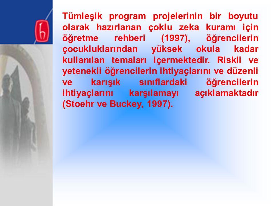 Tümleşik program projelerinin bir boyutu olarak hazırlanan çoklu zeka kuramı için öğretme rehberi (1997), öğrencilerin çocukluklarından yüksek okula k
