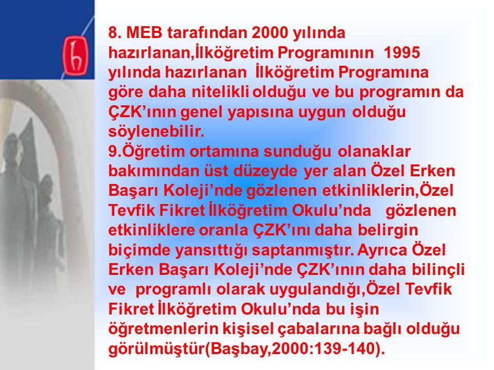 8. MEB tarafından 2000 yılında hazırlanan,İlköğretim Programının 1995 yılında hazırlanan İlköğretim Programına göre daha nitelikli olduğu ve bu progra