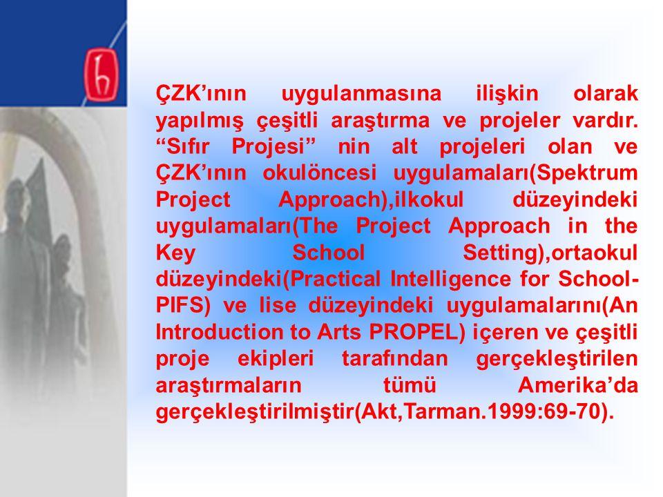 """ÇZK'ının uygulanmasına ilişkin olarak yapılmış çeşitli araştırma ve projeler vardır. """"Sıfır Projesi"""" nin alt projeleri olan ve ÇZK'ının okulöncesi uyg"""