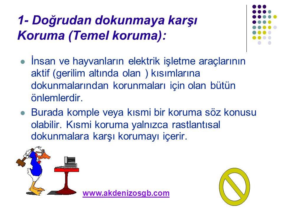1- Doğrudan dokunmaya karşı Koruma (Temel koruma): İnsan ve hayvanların elektrik işletme araçlarının aktif (gerilim altında olan ) kısımlarına dokunma
