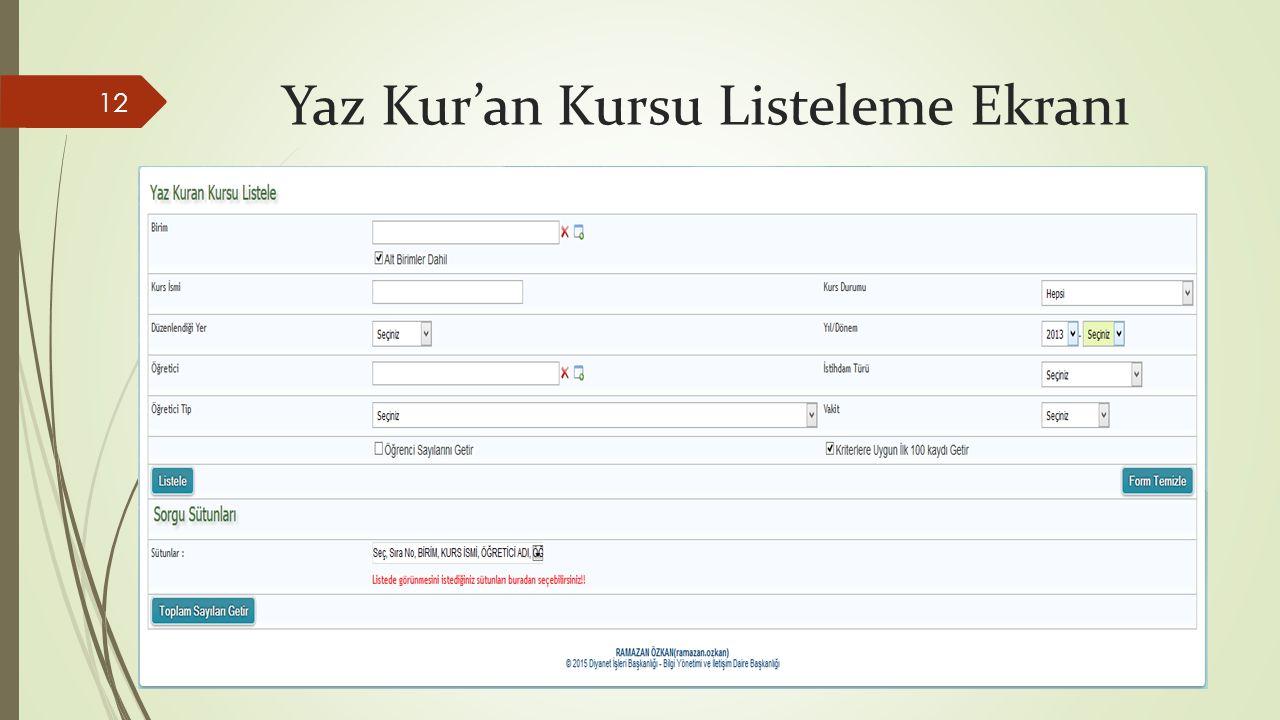 Yaz Kur'an Kursu Listeleme Ekranı 12