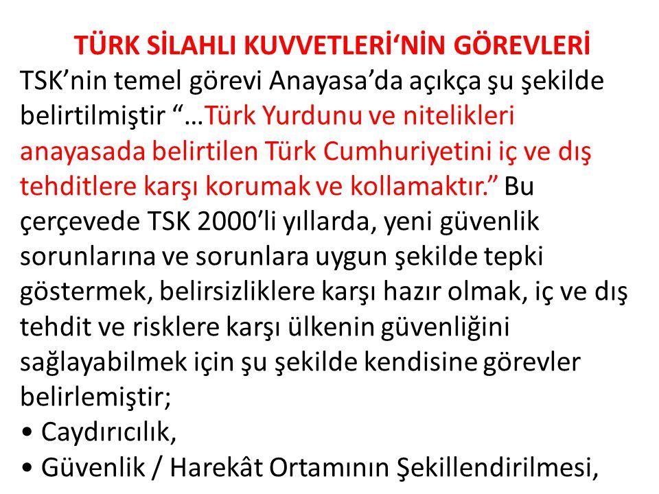 TÜRK SİLAHLI KUVVETLERİ'NİN GÖREVLERİ TSK'nin temel görevi Anayasa'da açıkça şu şekilde belirtilmiştir …Türk Yurdunu ve nitelikleri anayasada belirtilen Türk Cumhuriyetini iç ve dış tehditlere karşı korumak ve kollamaktır. Bu çerçevede TSK 2000′li yıllarda, yeni güvenlik sorunlarına ve sorunlara uygun şekilde tepki göstermek, belirsizliklere karşı hazır olmak, iç ve dış tehdit ve risklere karşı ülkenin güvenliğini sağlayabilmek için şu şekilde kendisine görevler belirlemiştir; Caydırıcılık, Güvenlik / Harekât Ortamının Şekillendirilmesi,