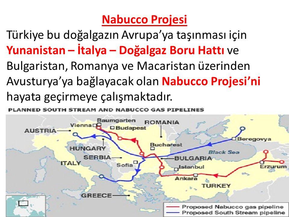 Nabucco Projesi Türkiye bu doğalgazın Avrupa'ya taşınması için Yunanistan – İtalya – Doğalgaz Boru Hattı ve Bulgaristan, Romanya ve Macaristan üzerinden Avusturya'ya bağlayacak olan Nabucco Projesi'ni hayata geçirmeye çalışmaktadır.