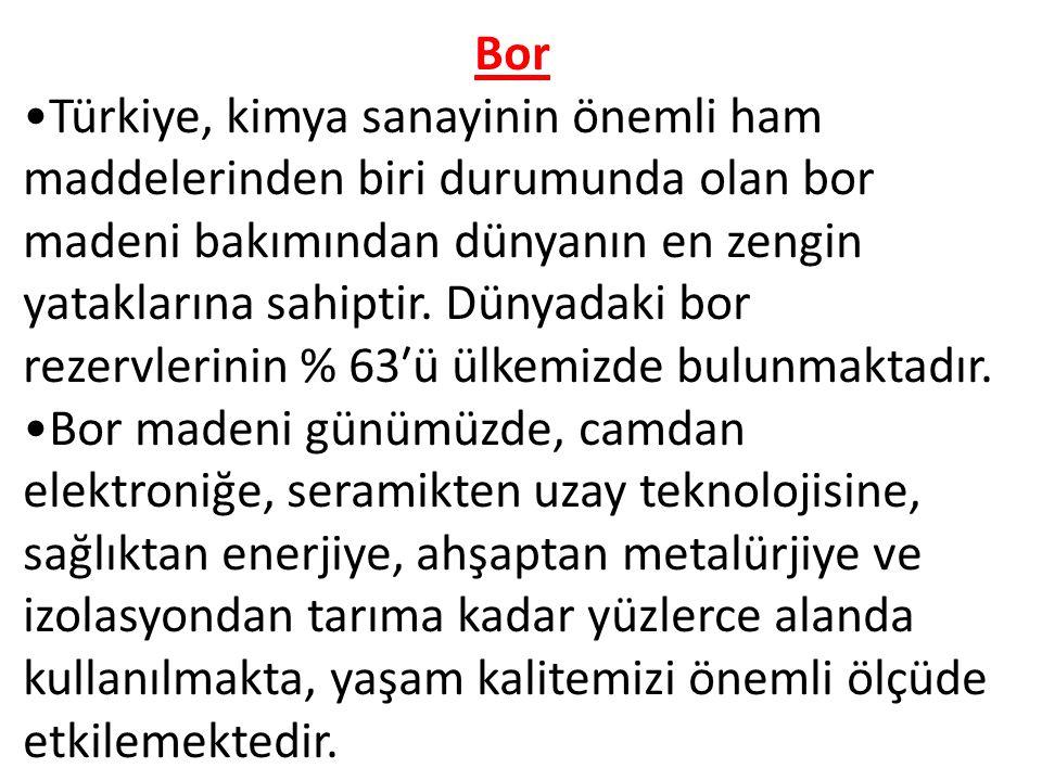 Bor Türkiye, kimya sanayinin önemli ham maddelerinden biri durumunda olan bor madeni bakımından dünyanın en zengin yataklarına sahiptir.