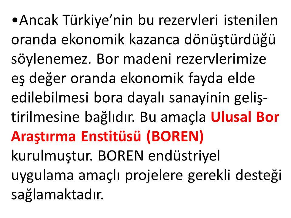 Ancak Türkiye'nin bu rezervleri istenilen oranda ekonomik kazanca dönüştürdüğü söylenemez.
