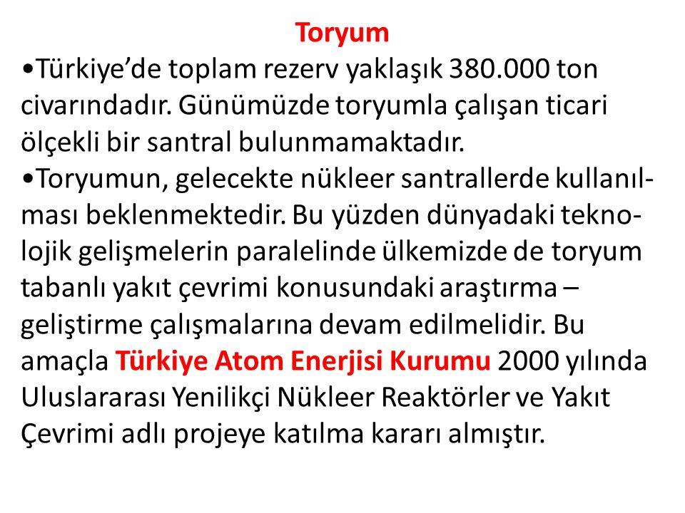 Toryum Türkiye'de toplam rezerv yaklaşık 380.000 ton civarındadır.