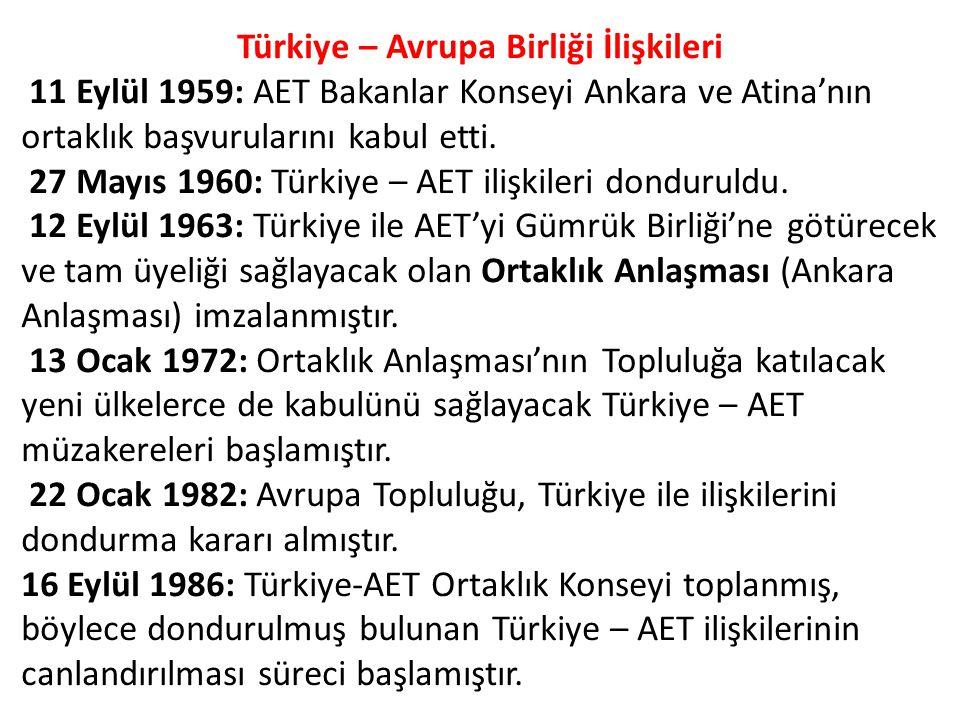 Türkiye – Avrupa Birliği İlişkileri 11 Eylül 1959: AET Bakanlar Konseyi Ankara ve Atina'nın ortaklık başvurularını kabul etti.