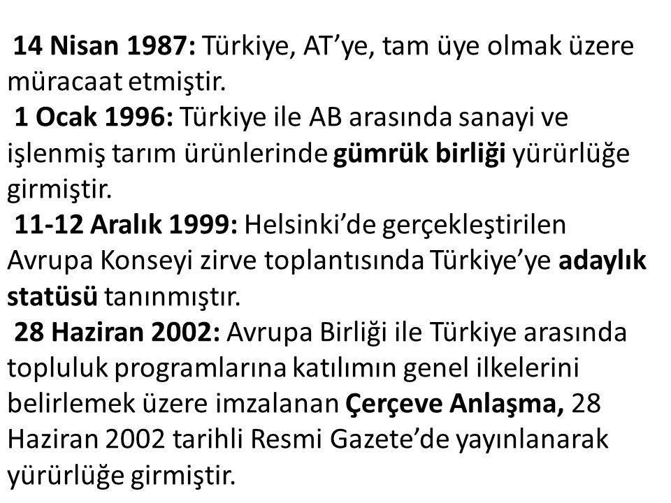 14 Nisan 1987: Türkiye, AT'ye, tam üye olmak üzere müracaat etmiştir.