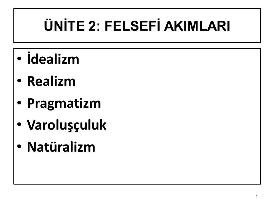 ÜNİTE 2: FELSEFİ AKIMLARI 1 İdealizm Realizm Pragmatizm Varoluşçuluk Natüralizm