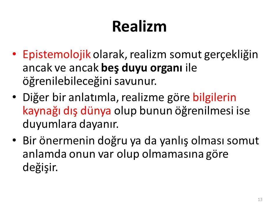 Realizm Epistemolojik olarak, realizm somut gerçekliğin ancak ve ancak beş duyu organı ile öğrenilebileceğini savunur.