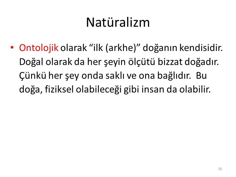 Natüralizm Ontolojik olarak ilk (arkhe) doğanın kendisidir.