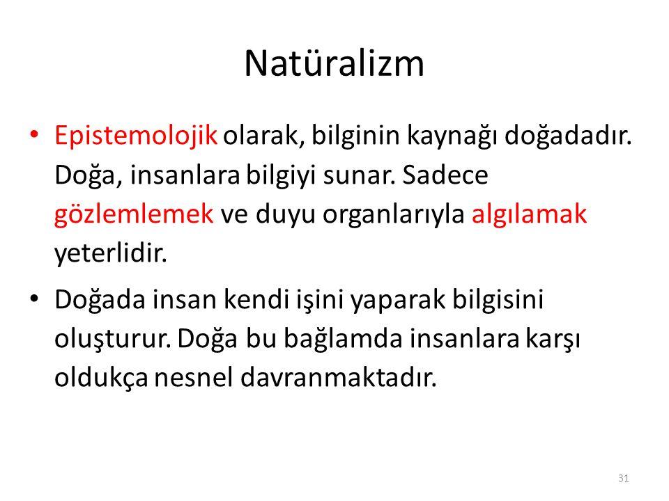 Natüralizm Epistemolojik olarak, bilginin kaynağı doğadadır. Doğa, insanlara bilgiyi sunar. Sadece gözlemlemek ve duyu organlarıyla algılamak yeterlid