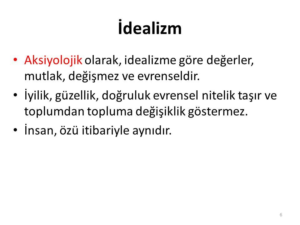 İdealizm Aksiyolojik olarak, idealizme göre değerler, mutlak, değişmez ve evrenseldir.