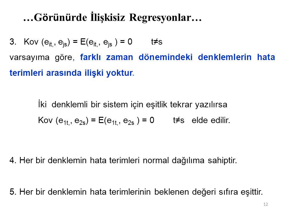 …G ö r ü n ü rde İlişkisiz Regresyonlar… 3.Kov (e it,, e js ) = E(e it,, e js ) = 0 t≠s varsayıma göre, farklı zaman dönemindeki denklemlerin hata terimleri arasında ilişki yoktur.