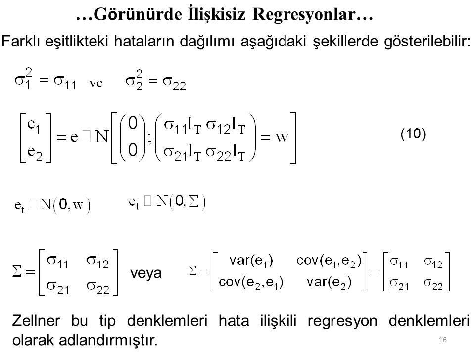 Farklı eşitlikteki hataların dağılımı aşağıdaki şekillerde gösterilebilir: …G ö r ü n ü rde İlişkisiz Regresyonlar… ve (10) Zellner bu tip denklemleri hata ilişkili regresyon denklemleri olarak adlandırmıştır.
