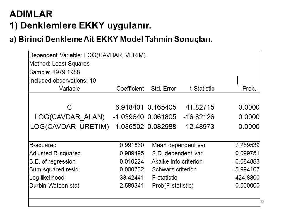 ADIMLAR 1) Denklemlere EKKY uygulanır.a) Birinci Denkleme Ait EKKY Model Tahmin Sonuçları.