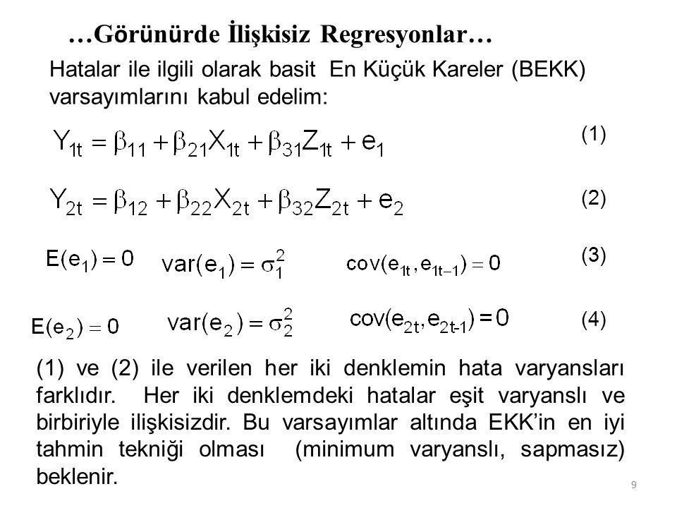 …G ö r ü n ü rde İlişkisiz Regresyonlar… Hatalar ile ilgili olarak basit En Küçük Kareler (BEKK) varsayımlarını kabul edelim: (1) ve (2) ile verilen her iki denklemin hata varyansları farklıdır.