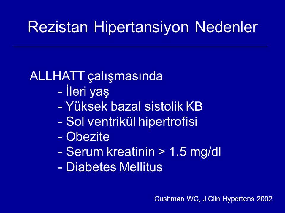 Rezistan Hipertansiyon Nedenler ALLHATT çalışmasında - İleri yaş - Yüksek bazal sistolik KB - Sol ventrikül hipertrofisi - Obezite - Serum kreatinin >
