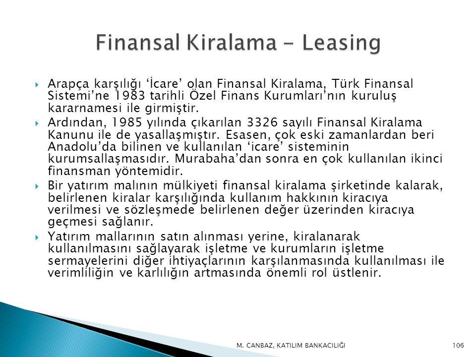 Arapça karşılığı 'İcare' olan Finansal Kiralama, Türk Finansal Sistemi'ne 1983 tarihli Özel Finans Kurumları'nın kuruluş kararnamesi ile girmiştir.