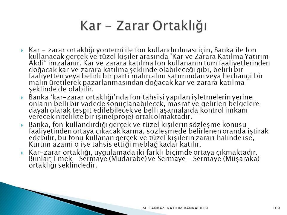  Kar - zarar ortaklığı yöntemi ile fon kullandırılması için, Banka ile fon kullanacak gerçek ve tüzel kişiler arasında Kar ve Zarara Katılma Yatırım Akdi imzalanır.