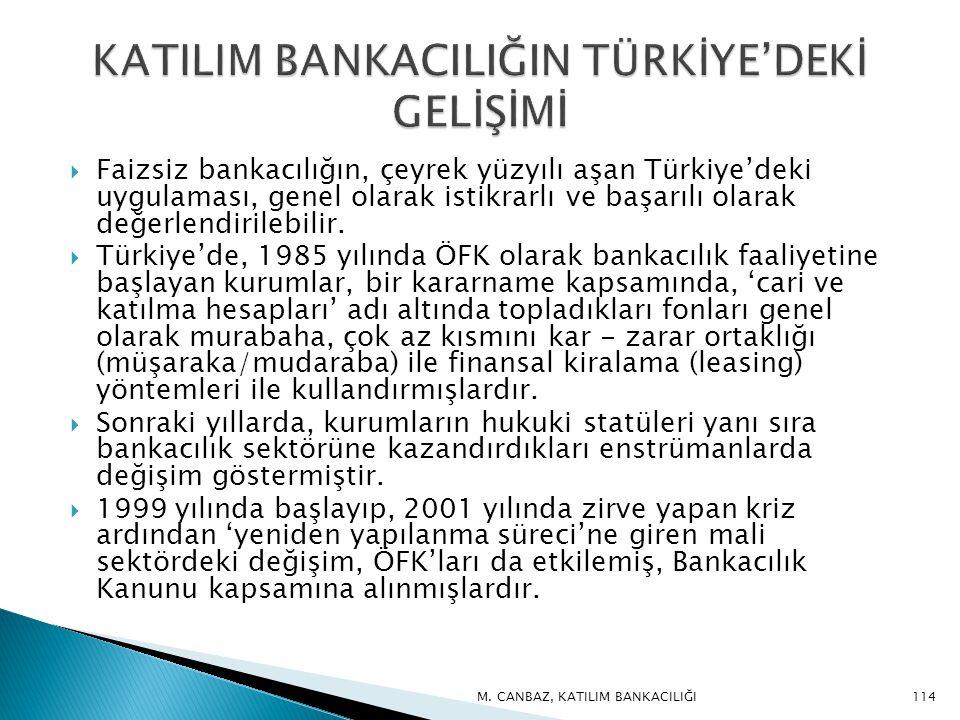  Faizsiz bankacılığın, çeyrek yüzyılı aşan Türkiye'deki uygulaması, genel olarak istikrarlı ve başarılı olarak değerlendirilebilir.