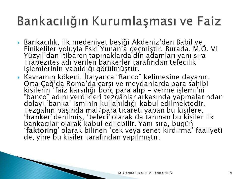  Bankacılık, ilk medeniyet beşiği Akdeniz'den Babil ve Finikeliler yoluyla Eski Yunan'a geçmiştir.