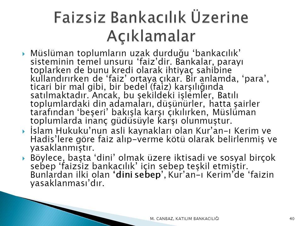 Müslüman toplumların uzak durduğu 'bankacılık' sisteminin temel unsuru 'faiz'dir.