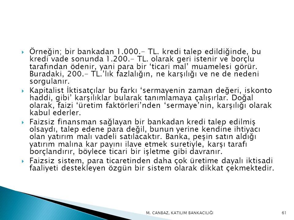  Örneğin; bir bankadan 1.000.- TL.kredi talep edildiğinde, bu kredi vade sonunda 1.200.- TL.
