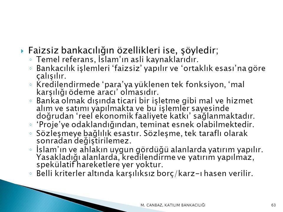  Faizsiz bankacılığın özellikleri ise, şöyledir; ◦ Temel referans, İslam'ın asli kaynaklarıdır.